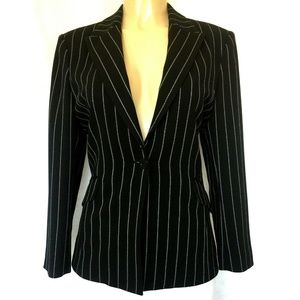 Oscar De La Renta Black Striped Blazer Jacket 10P